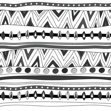 этнический: Бесшовные вектор текстуры с племенными рисунком Иллюстрация