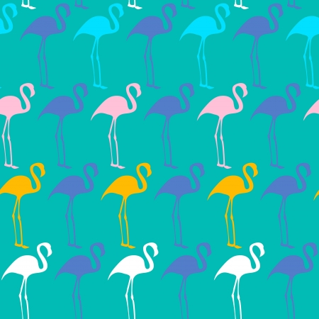 pink flamingo: Bright seamless vector pattern with flamingos