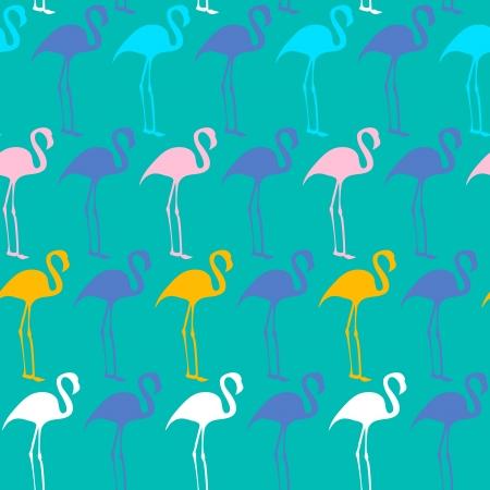 flamingos: Bright seamless vector pattern with flamingos
