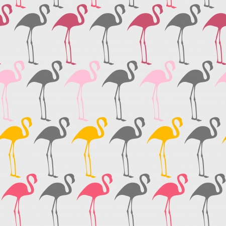 Bright seamless vector pattern with flamingos