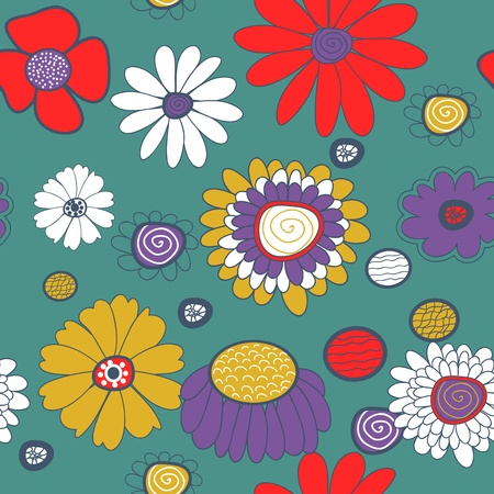 Seamless vector background with multicolored flowers Stock Vector - 16534780