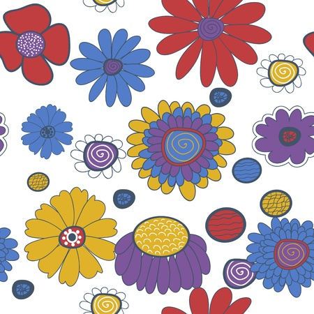 Seamless vector background with multicolored flowers Stock Vector - 16534779