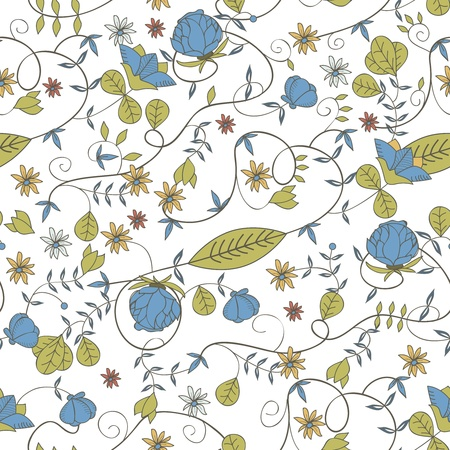 flore: Seamless vector floral texture with drawing small flowers Illustration