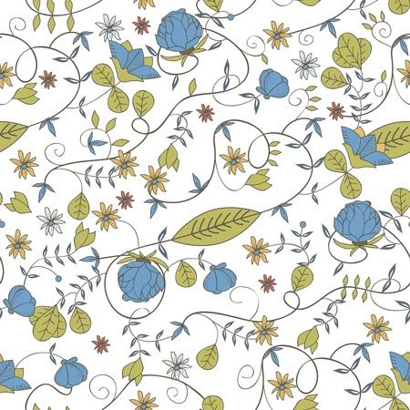 canvas print: Textura vector Seamless floral con el dibujo de flores peque�as