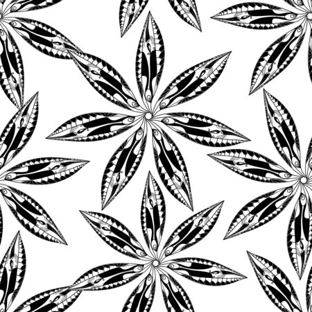 ethno: Seamless vector texture with drawing flowers