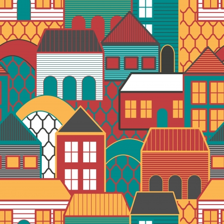 roof construction: Seamless vector background with multicolored houses