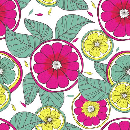 Seamless vector pattern with lemons and leafs Vector