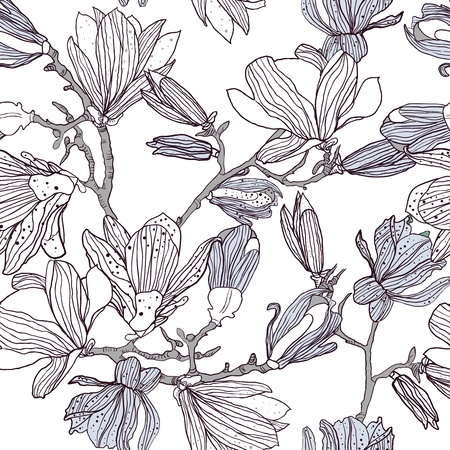 magnolia flowers: Seamless vector texture with drawing magnolia flowers