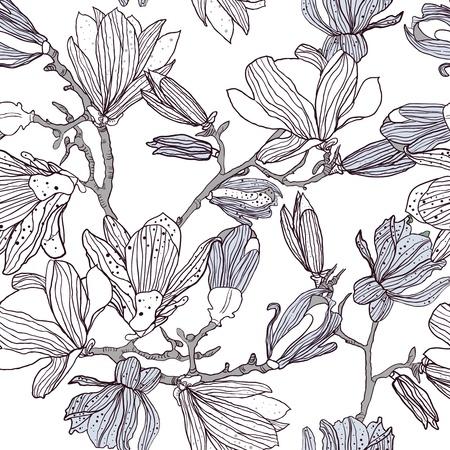 monocrom�tico: Textura sem emenda do vetor com desenho flores de magn�lia Ilustra��o