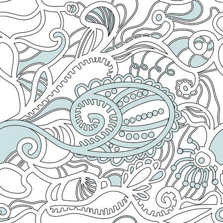 ethno: Monochrome seamless vector pattern with swirls