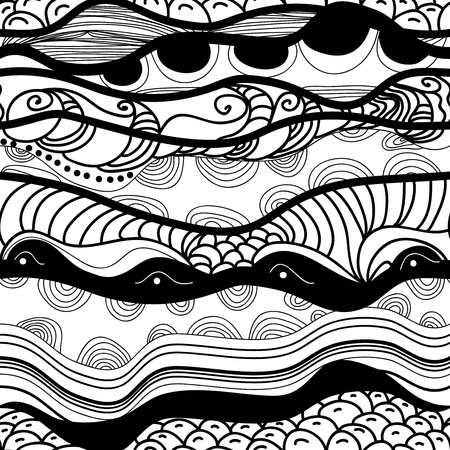 ethno: Seamless vector texture with drawing original waves