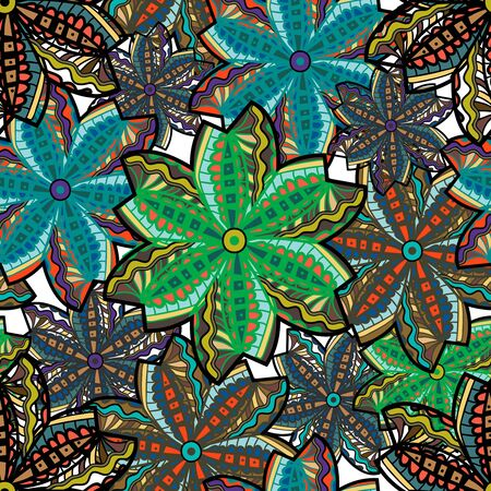 tilling: Seamless vector texture with tribal flowers