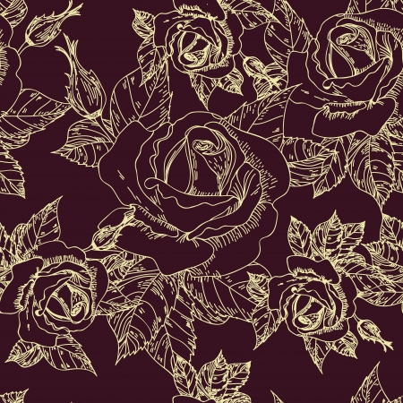 Seamless vector texture with drawing roses Vector