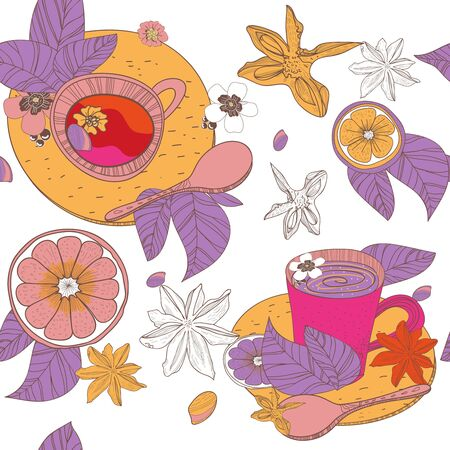 Seamless vector texture with tea cups and fruits Vector