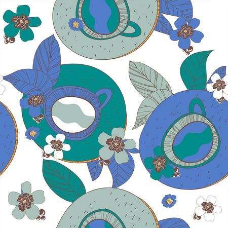 Seamless vector texture with drawing tea cups and leafs Vector