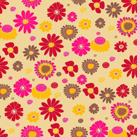 Seamless vector background with multicolored flowers Stock Vector - 16534898
