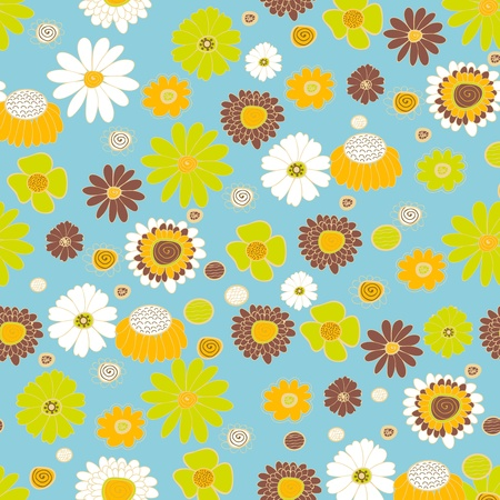 Seamless vector background with multicolored flowers Stock Vector - 16534897