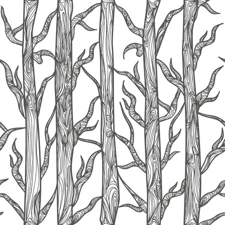 bole: Seamless vector texture with drawing trees