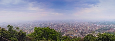 cramped space: Big panorama with Kathmandu city