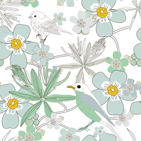 Seamless vector texture with birds and flowers Vector