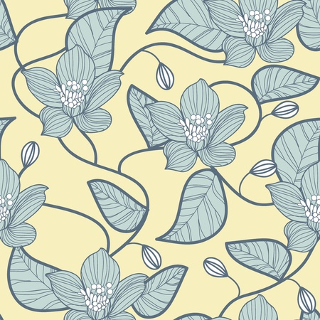 fabric art: Seamless vector texture with abstract floral pattern