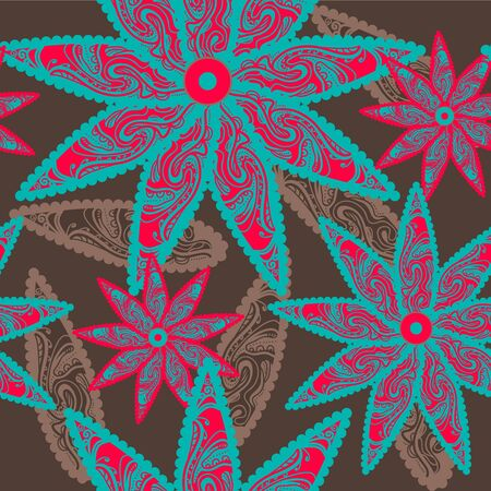 Seamless vector texture with tribal flowers Stock Vector - 17914987
