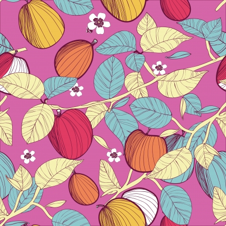 Seamless vector texture with drawing fruits and leafs Stock Vector - 17914981