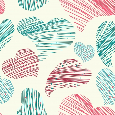 stoke: seamless vector pattern with drawing hearts Illustration