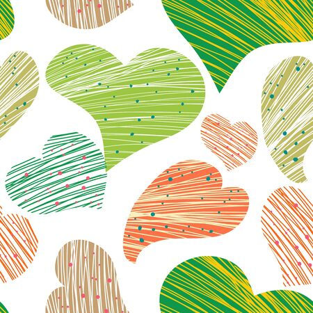 stoke: Seamless vector pattern with drawing hearts