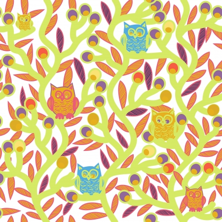 Seamless vector texture with drawing trees and owls Vector