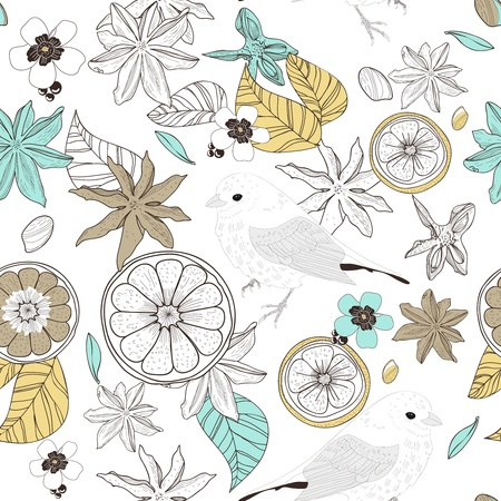 badiane: Seamless vector texture with birds, leafs and fruits Illustration