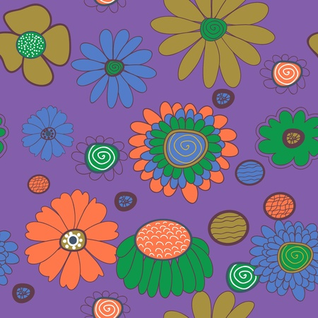 Seamless vector background with multicolored flowers Stock Vector - 17914870
