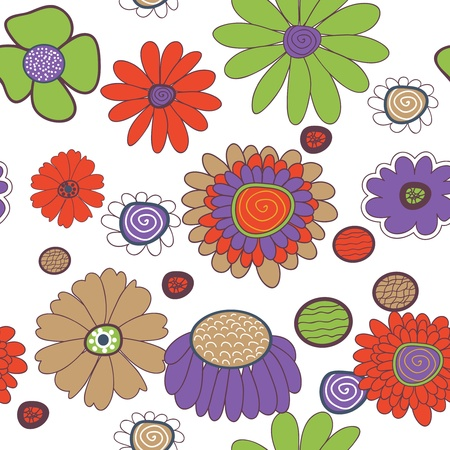 Seamless vector background with multicolored flowers Vector