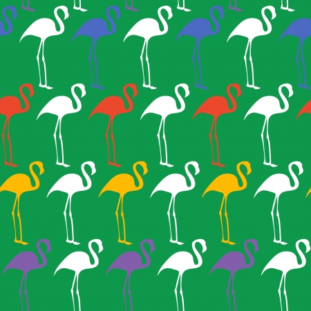 tilling: Bright seamless vector pattern with flamingos