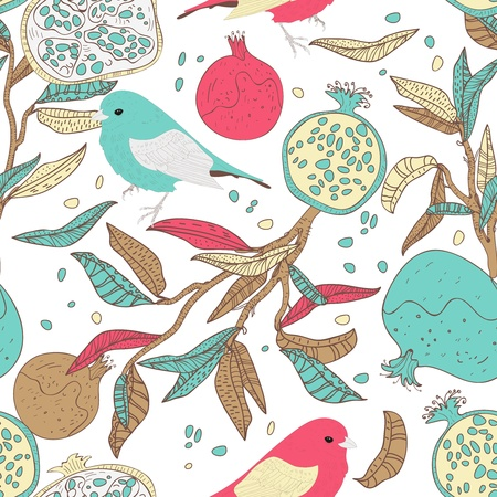 Seamless vector pattern with drawing birds and fruits
