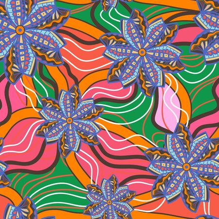 tilling: Seamless texture with tribal flowers Illustration
