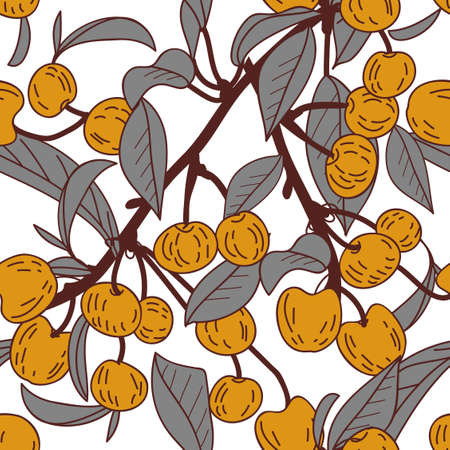 Seamless vector texture with cheries branch Vector
