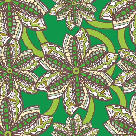 Seamless vector texture with tribal flowers Stock Vector - 18790801