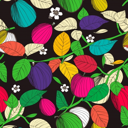 Seamless vector texture with drawing fruits and leafs Vector