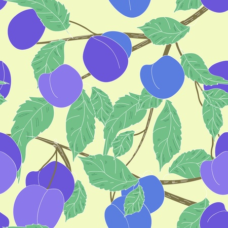 Seamless vector texture with fruits and leafs Vector