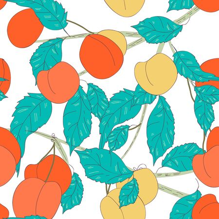 turquiose: Seamless vector texture with fruits and leafs
