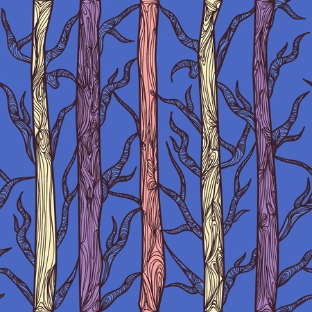 brushwood: Seamless vector texture with drawing trees