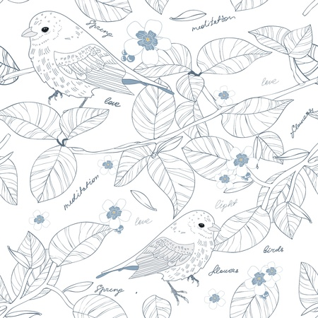 Seamless texture with birds and flowers Vector