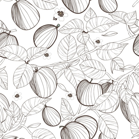 Seamless texture with drawing fruits and leafs Vector