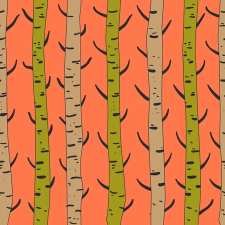 brushwood: Seamless texture with birds and trees Illustration