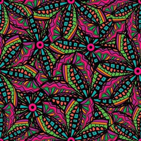 psychedelic: Seamless texture with tribal flowers Illustration