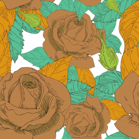 Seamless texture with drawing roses Vector