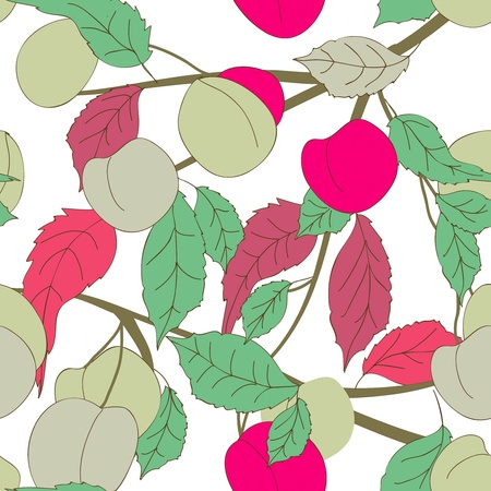 Seamless texture with fruits and leafs Vector
