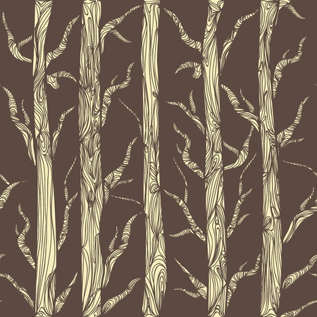 Seamless texture with drawing trees Vector