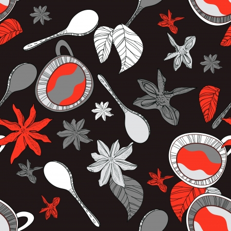 Seamless pattern with spoon,cups and spices Vector